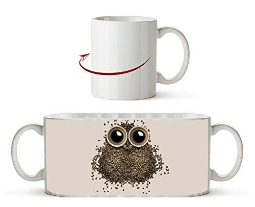 niedliche Eule aus Kaffeebohnen Effekt: Sepia als Motivetasse 300ml, aus Keramik weiß, wunderbar...