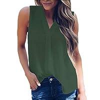 Unko Women Summer Sleeveless Chiffon V Neck T Shirt Casual Tank Tops Army Green XXS