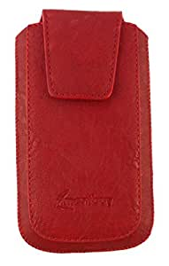 Emartbuy® PU Leather Slide in Pouch Cover Sleeve Holder for BQ Aquaris A4.5 Smartphone (Size 3XL_Red Classic)