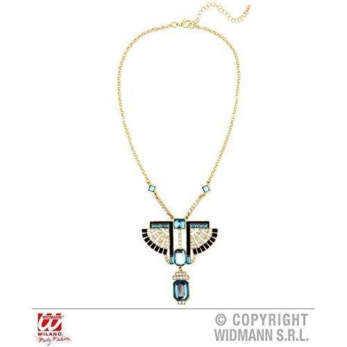 Goldfarbene Pharao Kette / Halskette / Indianerkette Indianerschmuck / Ägyptischer Schmuck mit blauem Stein in Topas - Optik