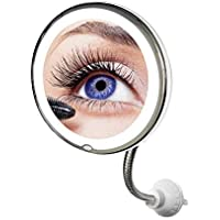 Z@SS Espejo de Aumento con luz, Aumento 10X, Espejo de vanidad del baño, Espejo de Viaje Compacto con Ventosa Fuerte