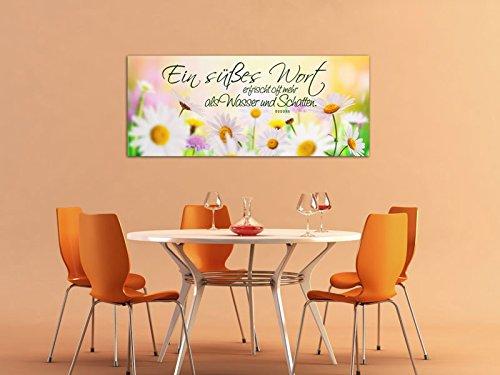 Dalinda® XXL-Wandbild Leinwandbild mit Spruch Ein süßes Wort… 100x40cm Keilrahmenbild Kunstdruck Wandbild Panorama Leinwandbild LS039