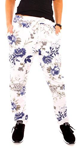 Damen Joggpants Jogginghose Sporthose Jersey Sweathose mit Rosen Blumen Muster