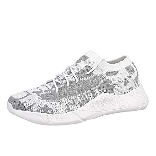 CUTUDE Herren Sneaker Herren Laufschuhe Sportschuhe Schnüren Straße Wanderschuhe Breathable Weiche Unterseiten Atmungsaktiv rutschfeste Mode Lässig Turnschuhe Ineinander (Weiß, 40 EU)