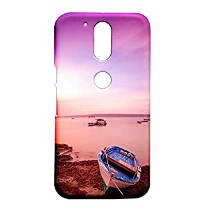 Fancy Interio Motorola Moto G4/ Moto G4 Plus - Wooden Boat On The River Bed With Evening Light.