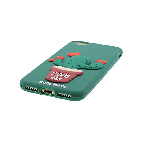 Copertura iPhone 6S Plus, Bumper TPU Gel protettivo in gomma morbida Case Cover Copertura per iPhone 6 Plus/6s Plus 5.5 , Cartoon verde Cactus Love verde 1