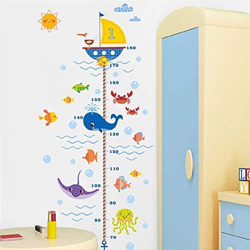 Zhzhqm DIY Wandaufkleber Cartoon Boot Höhe Maßnahme Wandaufkleber Für Kinderzimmer PVC Wachstum Chart Wandtattoos Poster Wandbild Badezimmer Dekor -
