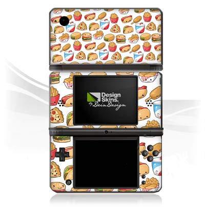 DeinDesign Skin kompatibel mit Nintendo DSi XL Aufkleber Sticker Folie Hamburger Pommes Pizza