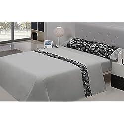 PIERRE CARDIN- PARIS. Juego de sábanas 100%algodón, alta calidad. (160, gris perla)
