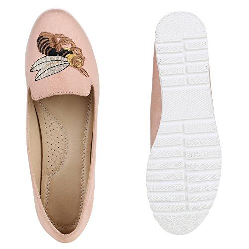 Damen Slipper Loafers Schleifen Glitzer Flats Profilsohle Schuhe Rosa Stickmuster