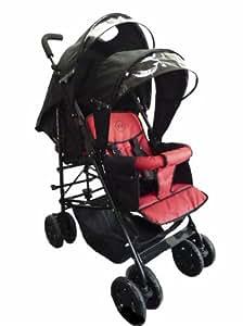 Poussette double tandem Kidz Kargo, légère et maniable. Siège arrière à partir de la naissance, siège avant à partir de 6 mois. Sièges rouges/ capotes noires. Habillage pluie inclus