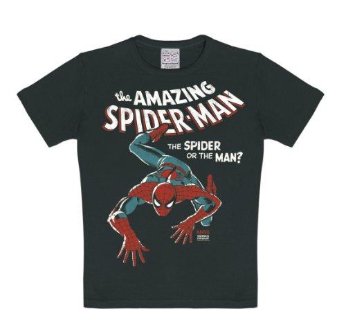 Logoshirt Marvel Comics - Amazing Spiderman T-Shirt Kinder Jungen - schwarz - Lizenziertes Originaldesign, Größe 170/176, 15-16 ()