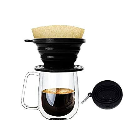 Wolecok Silicone Collapsible Coffee Filter Cone,Food Grade Coffee Dripper, Perfect for Outdoors and Travel with Free Hook