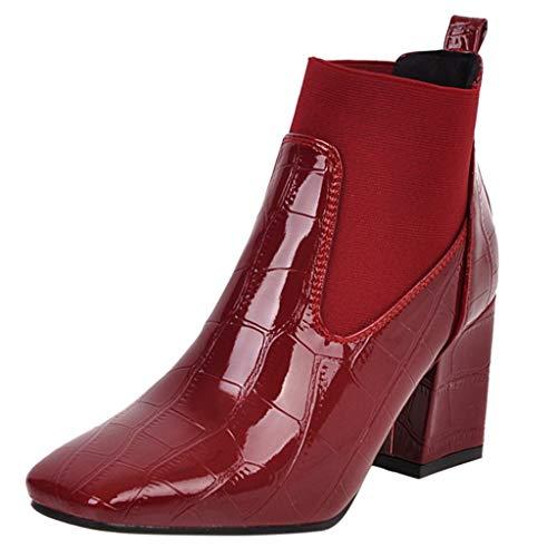 Maleya Damen Schnürstiefeletten Übergrößen Flandell Damen Stiefeletten Chelsea Boots mit Blockabsatz Profilsohle Flandell Mode Quadratische Reißverschluss Krokoprägung Kurze Stiefel Karree Schuhe