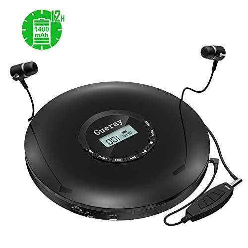Tragbarer CD Player Discman mit Integrierte 1400mAh-Akku Lithium-Batterie 12 Stdn. Spielzeit CD Player Tragbar mit Inline-Steuerung für Kopfhörer Skip-Schutz Kopfhörer für Hörbücher Musikhören