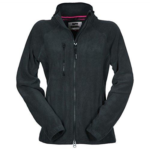 Happy Clothing Damen Fleecejacke Microfleece Outdoor-Jacke ohne Kapuze mit Kragen Dunkelblau Schwarz S M L, Größe:M, Farbe:Schwarz (Microfleece Polar-fleece)