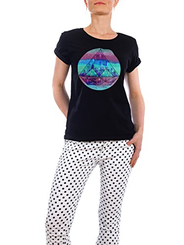 "Design T-Shirt Frauen Earth Positive ""The Lost City"" - stylisches Shirt Abstrakt Geometrie Reise von littleclyde Schwarz"