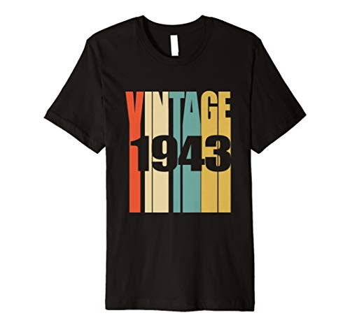 Retro Vintage 1943 T Shirt 75 Jahre Alt Bday 75th Birthday