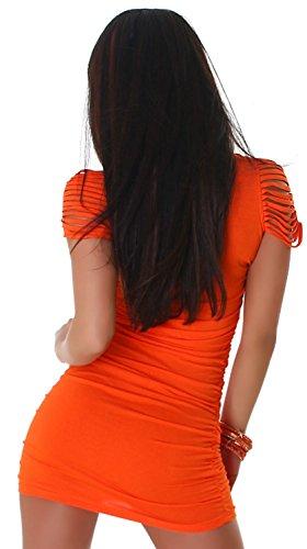 Voyelles robe & touche plissé uni taille unique (32–38) Orange - Orange