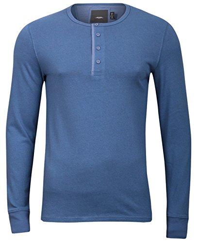 Modisches Herren Y-Neck Henley Langarmshirt Longlsleeve T-Shirt Grandad Knöpfe Blau