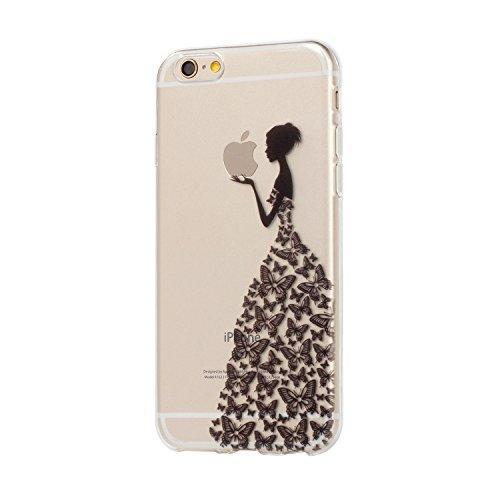 Für iPhone 6 6S Hülle Fall , IJIA Schwarz Mädchen Schmetterling Weich TPU Case Durchsichtig Schutzhülle Silikon Crystal Transparent Cover Hülle für Apple iPhone 6 6S 4.7