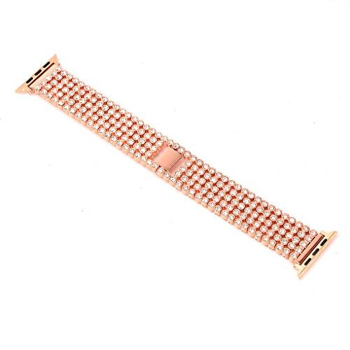 fish Edelstahl-Uhrenarmband-5-Korn-Smart-Kristall-Handgelenk-Band Ersatz-Kettenarmband-Gurt f¨¹r iwatch