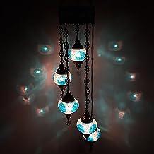 Turque Marocain Style Tiffany Mosaïque De Verre Chandelier 5 Ampoule - B5 X 5 Chandelier