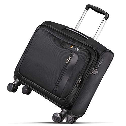 Business Koffer, REYLEO Laptop Trolley mit Geräuschloses Rad, Piloten Rollkoffer mit TSA-Schloss und QR-Code-Authentifizierung - Schwarz