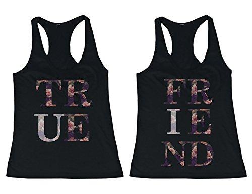 BFF Tank Tops True Friend - Camisa a juego con estampado floral para mejores amigos -  negro -  izquierda- XX-Large / derecho- XX-Large