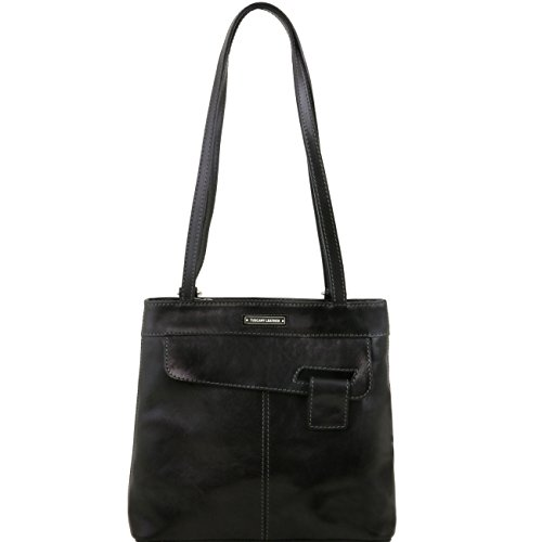 Tuscany Leather Martina - Borsa donna in pelle convertibile a zaino Marrone Zaini in pelle Nero