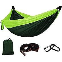 BeGreat Hamaca al aire libre, 200kg-capacidad de carga, tela de paracaídas, ultra ligera, transpirable y de secado rápido, con 2 hebillas de acero + 2 cuerdas atadas robustas, para exterior e interior - verde