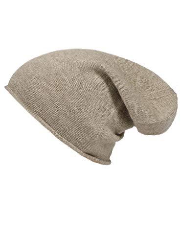 Zwillingsherz Slouch-Beanie-Mütze aus 100% Kaschmir - Hochwertige Strickmütze für Damen Mädchen Jungen - Hat - Unisex - One Size - warm und weich im Sommer Herbst und Winter - d.beige - Mütze Aus Gestrickte Baumwolle