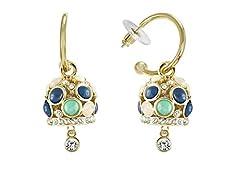 Idea Regalo - Inscintille Campane Orecchini dorati con campanella e pietre blu