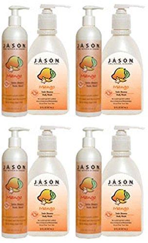 (4 PACK) - Jason Bodycare - Mango/Papaya Satin Body Wash | 900ml | 4 PACK BUNDLE by Jasons Natural