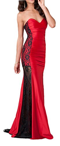 Lange schulterfreies Abendkleid durchbrochene Spitze Rot