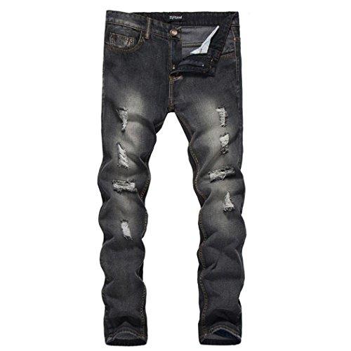 Sannysis Herren Jeans Denim Hose Slim Fit Destroyed Blau Schwarz Herren Slim Fit Straight Denim Vintage-Stil mit Löchern Jeans Hose (Schwarz, M) (Hose Jean-stil)
