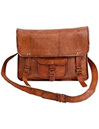 Anshika International Vintage Handmade Brown Genuine Leather Laptop Messenger Sling Bag