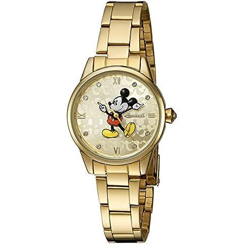Disney Oro de Ingersoll Reloj de mujer de cuarzo con Esfera Analógica Pantalla y Pulsera de oro