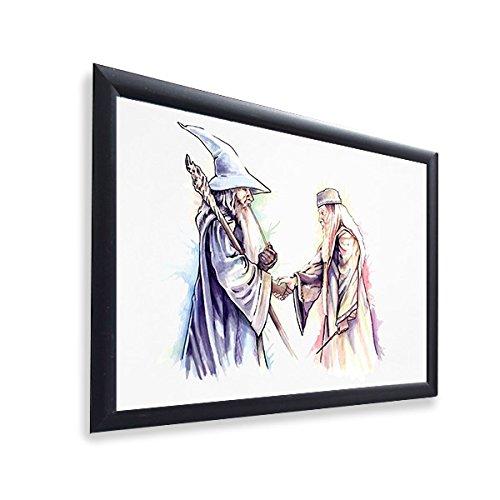 Ursprüngliche Kunst Inspiriert von Harry Potter & der Herr der Ringe (Lord of The Rings) - Gandalf & Dumbledore - Poster - Gerahmtes Plakat - 30 x 40 cm - Poster Der Herr Ringe Gerahmte