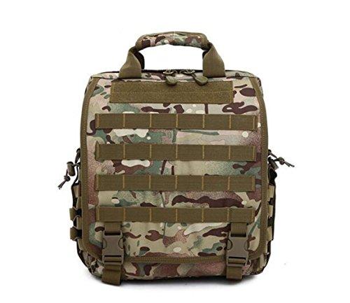 GOUQIN Outdoor Rucksack Klassische Mode Die Outdoor Single Schulter Eine Lineare Algebra Rucksack Canvas Multifunktions Tragetasche 4 Camouflage