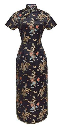 ipao abendkleid lange ärmelkurz schwarz 46 (Chinesen Kostüm Frauen)