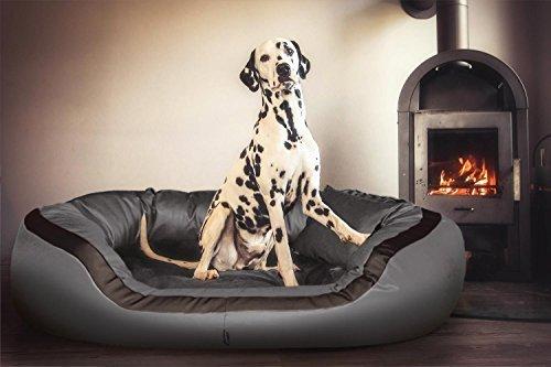 tierlando® PEPPER Orthopädisches Hundesofa in Kunstleder | 13cm mächtige Matratze VISCO | Graphit Grau 135cm XL | Anti-Haar | Formstabil |XXL-Kuschel-Rand