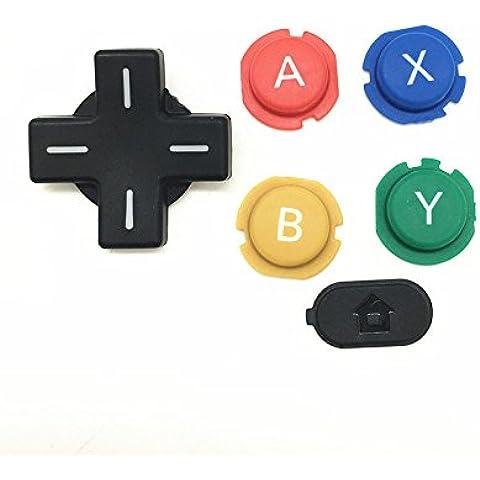 Meijunter ABXY Cross Press Key Button Set Sostituzione ABXY Croce bottone Premere Tasto Pulsante parte di riparazione per Nintendo NEW 3DS Console - Abxy Pulsanti