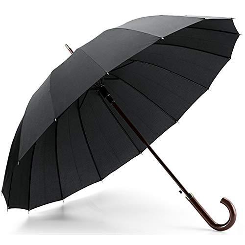 Paraguas Extra Premium 16 Varillas. Automático, Resistente y Elegante. Negro, Mango en Madera Hombres y Mujeres