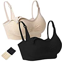 Cocosmart Nursing Bralette Pack Pack Of 2 Womens Plus Size Maternity Nursing Bra Sleep Padded Wireless For Breastfeeding With Adjustable Straps Beige&Black Medium