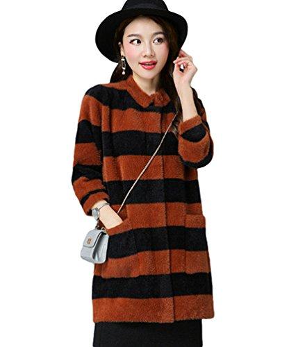 Chengyang donne casuale manica lunga a strisce cardigan maglia blazer giacca con tasche arancione