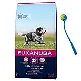 Eukanuba 15 kg Mature Senior Medium Hundefutter für ältere Hunde + Ballschleuder
