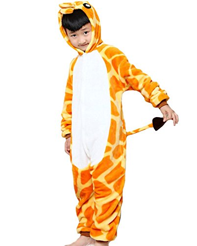 Ovender® kigurumi pigiami animali unisex bambina bambino bambini costume carnevale halloween cosplay unicorno stitch gufo zebra giraffa mucca festa party onesies (m/altezza 125-135cm, giraffa)