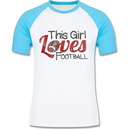 Football - This Girl loves Football - Vintage look - L140 Männer Raglan Baseball Shirt Weiß/Türkis