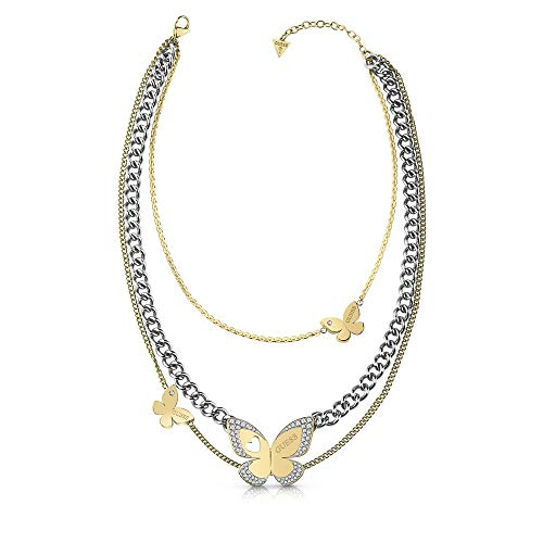 Raten Sie Halsband Liebes-Schmetterling bicolor chirurgischem Edelstahl UBN78036 [AC1141]